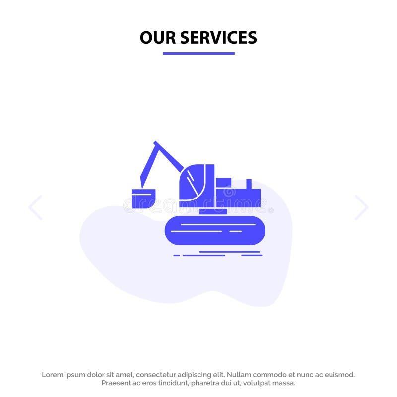 Наши обслуживания вытягивают шею, конструкция, подъем, шаблон карты сети значка глифа тележки твердый иллюстрация штока