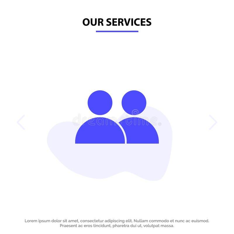 Наши обслуживания добавляют, контактируют, потребитель, шаблон карты сети значка глифа Twitter твердый иллюстрация вектора