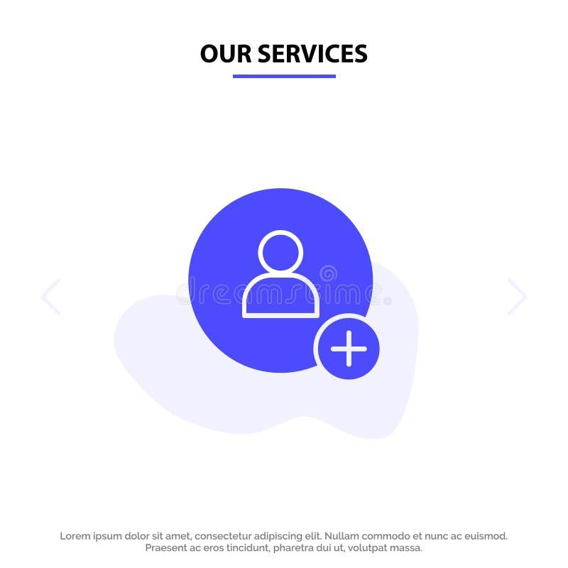 Наши обслуживания добавляют, контактируют, шаблон карты сети значка глифа Twitter твердый иллюстрация штока