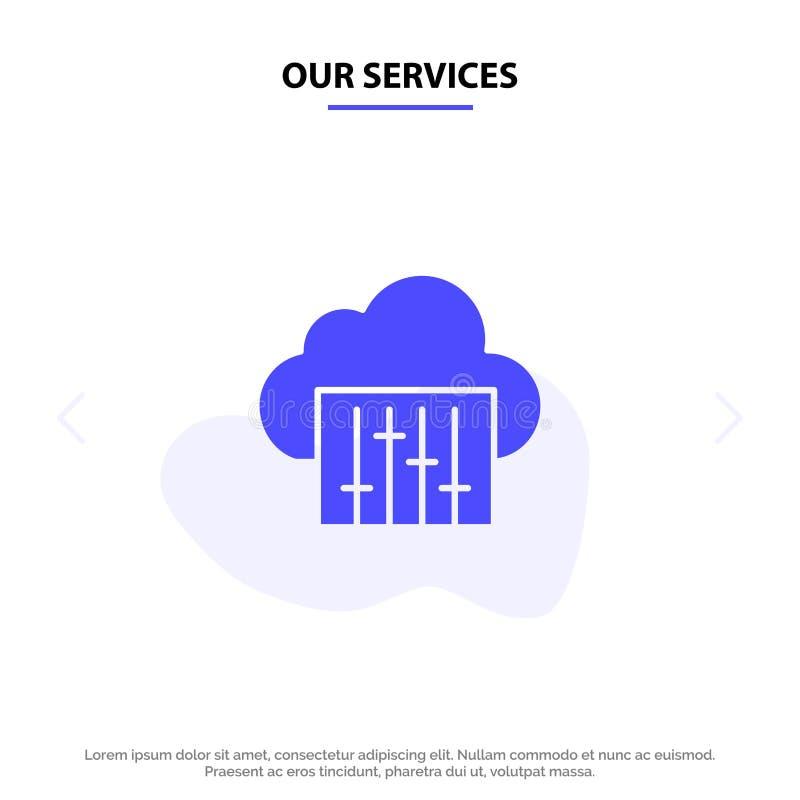 Наши обслуживания заволакивают, соединение, музыка, аудио твердый шаблон карты сети значка глифа иллюстрация штока