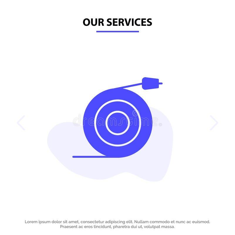 Наши обслуживания изогнули, подача, труба, шаблон карты сети значка глифа воды твердый иллюстрация вектора