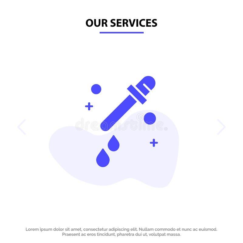 Наши обслуживания капельница, пипетка, шаблон карты сети значка глифа науки твердый бесплатная иллюстрация