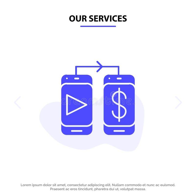 Наши обслуживания мобильные, доллар, шаблон карты сети значка глифа денег твердый иллюстрация штока