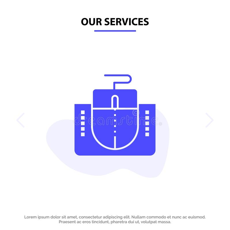Наши обслуживания мышь, интерфейс, интерфейс мыши, шаблон карты сети значка глифа компьютера твердый иллюстрация штока