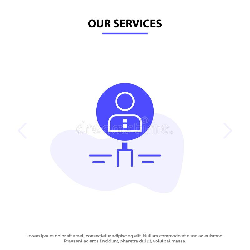 Наши обслуживания находят, стеклянный, нанимать, человеческий, увеличитель, люди, ресурс, шаблон карты сети значка глифа поиска т иллюстрация штока