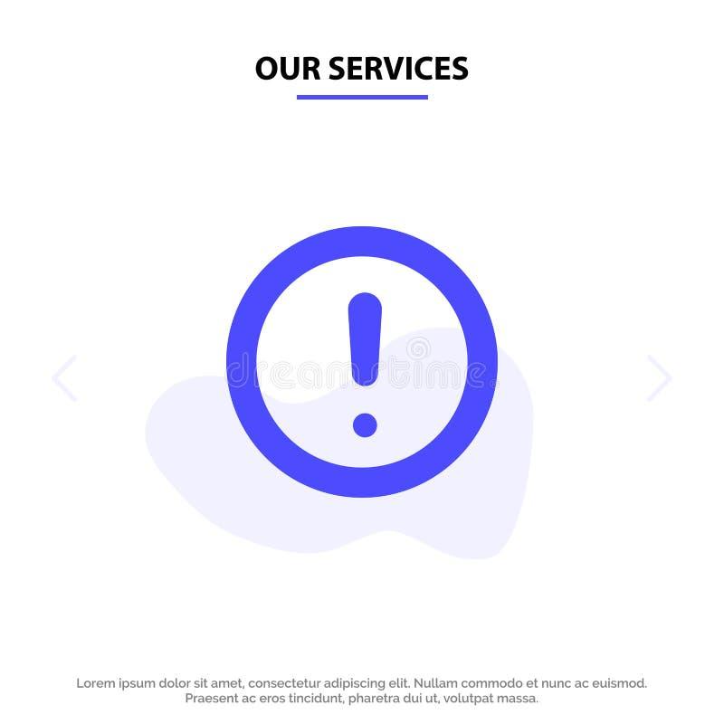 Наши обслуживания около, информация, примечание, вопрос, шаблон карты сети значка глифа поддержки твердый иллюстрация штока