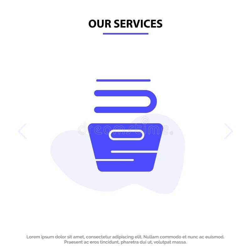 Наши обслуживания очищая, одежды, домоустройство, моя твердый шаблон карты сети значка глифа бесплатная иллюстрация