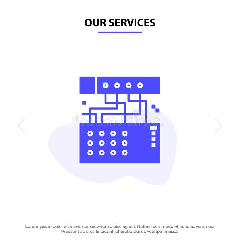 Наши обслуживания сетноые-аналогов, соединение, прибор, модуль, ядровый твердый шаблон карты сети значка глифа иллюстрация вектора
