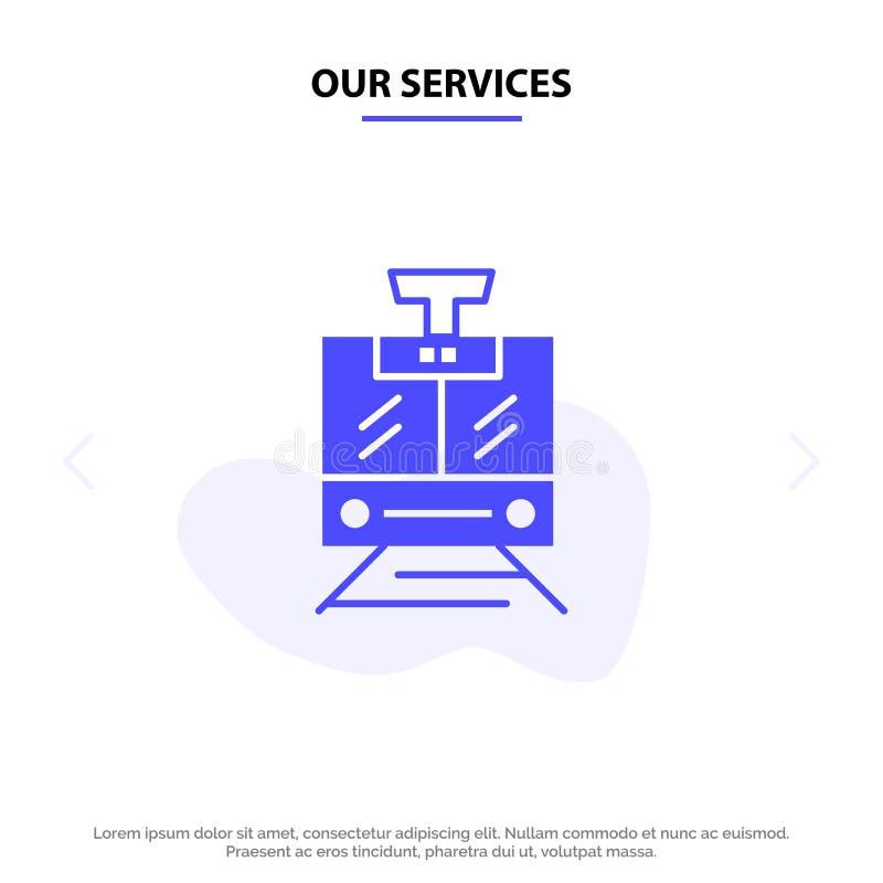 Наши обслуживания тренируют, публика, обслуживание, шаблон карты сети значка глифа корабля твердый иллюстрация штока