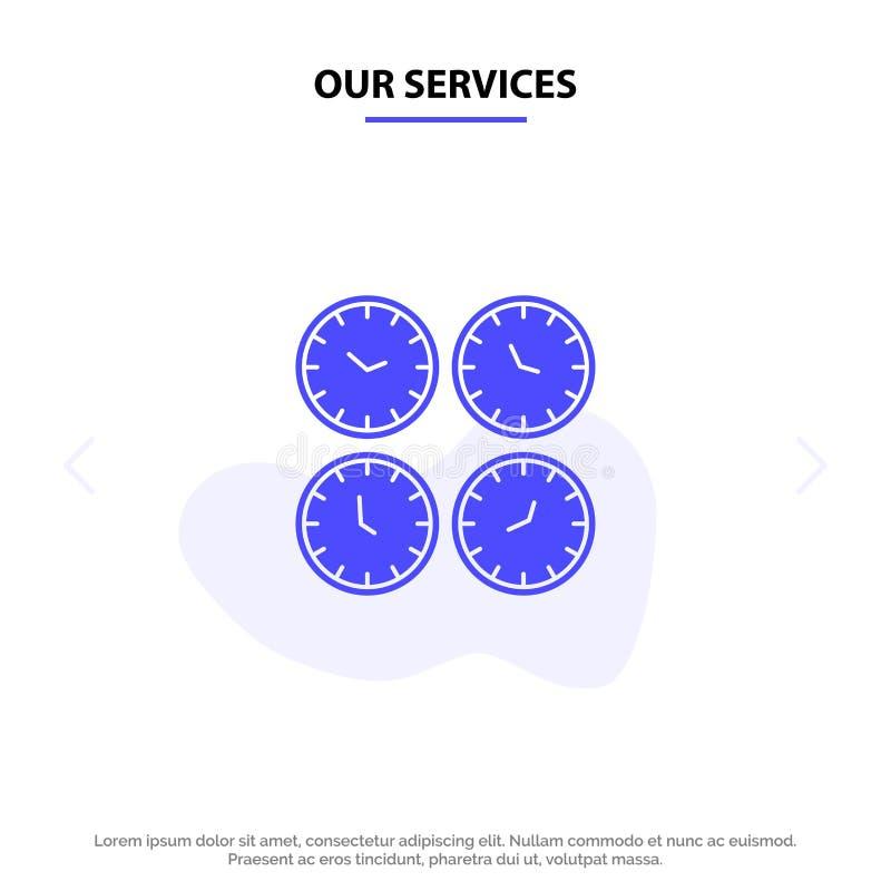 Наши обслуживания хронометрируют, дело, часы, часы офиса, часовой пояс, настенные часы, шаблон карты сети значка глифа времени ми бесплатная иллюстрация