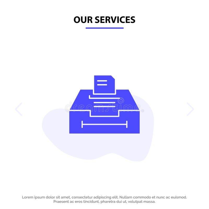 Наши услуги Данные, Архив, Бизнес, Информация, Твердые Глиф-Значок Шаблон Веб-Карты иллюстрация вектора