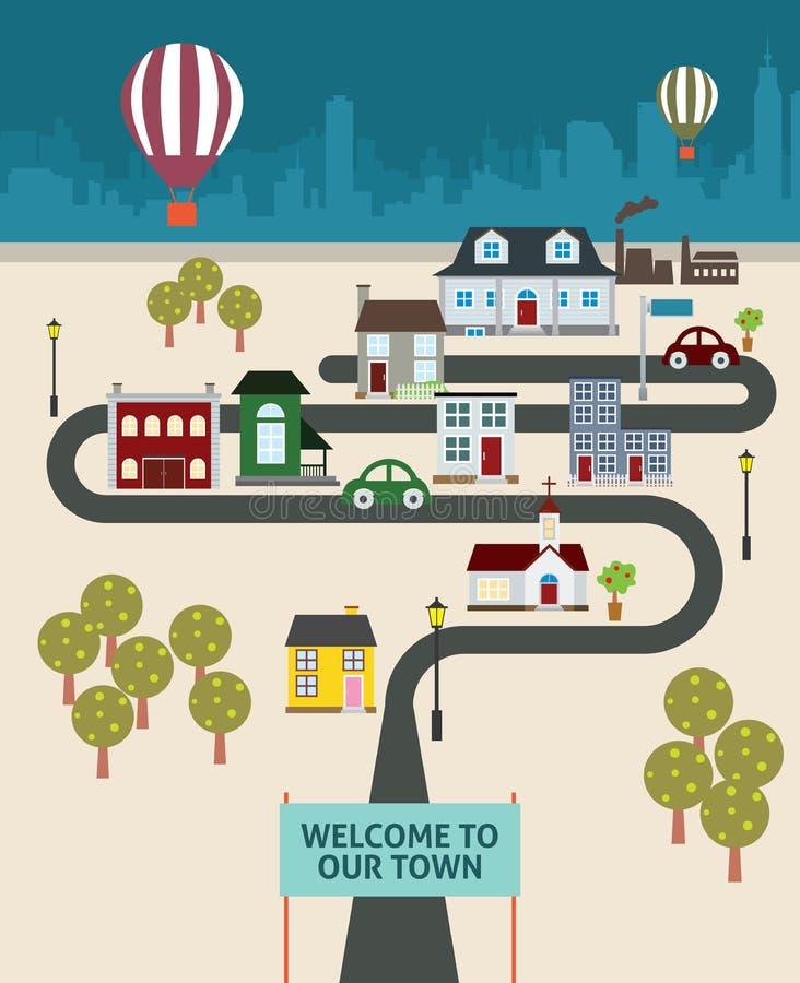 Наш город (горячий воздушный шар в небе) иллюстрация штока