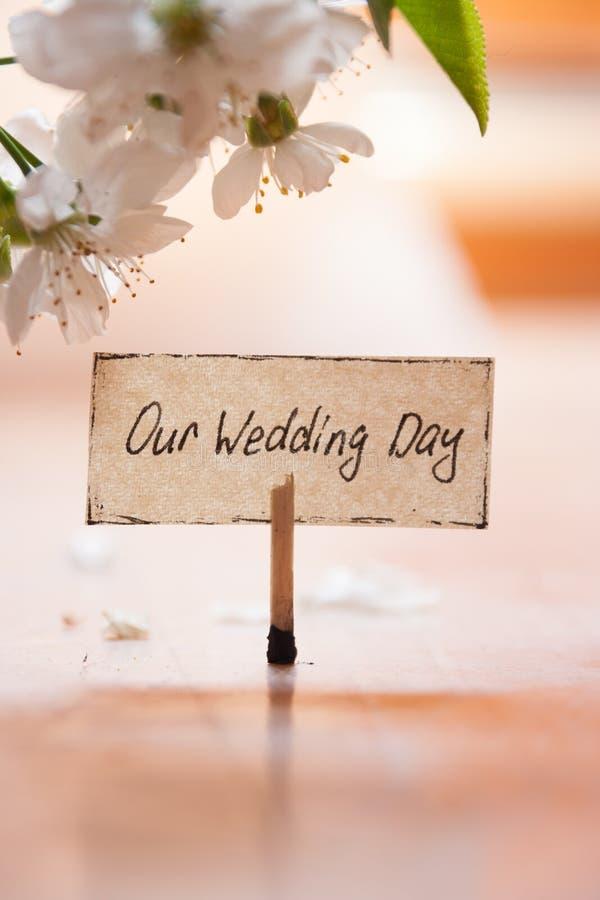 Наш день свадьбы стоковое изображение rf