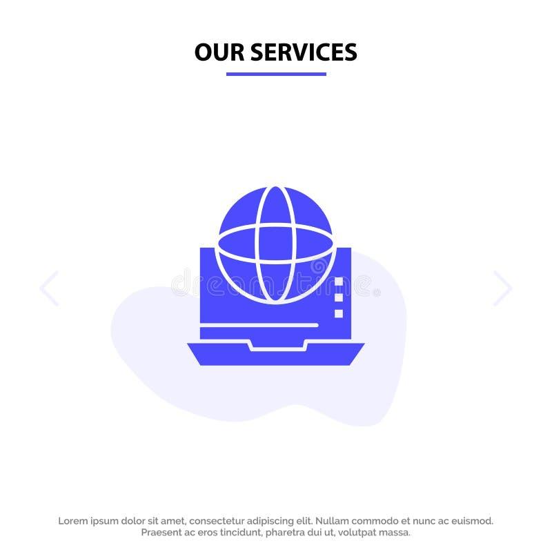 Наш интернет обслуживаний, дело, сообщение, соединение, сеть, онлайн твердый шаблон карты сети значка глифа иллюстрация штока