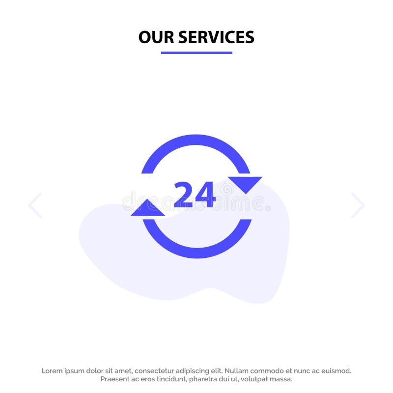 Наш консьерж обслуживаний, гостиница, никакое, круглосуточно, обслуживание, шаблон карты сети значка глифа стопа твердый бесплатная иллюстрация