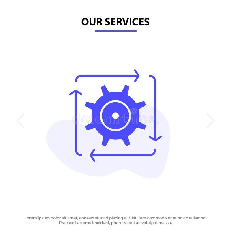 Наш поток операций обслуживаний, автоматизация, развитие, подача, шаблон карты сети значка глифа деятельности твердый иллюстрация вектора