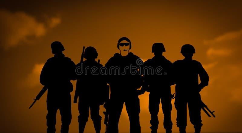 Наёмники или частная концепция армии иллюстрация вектора