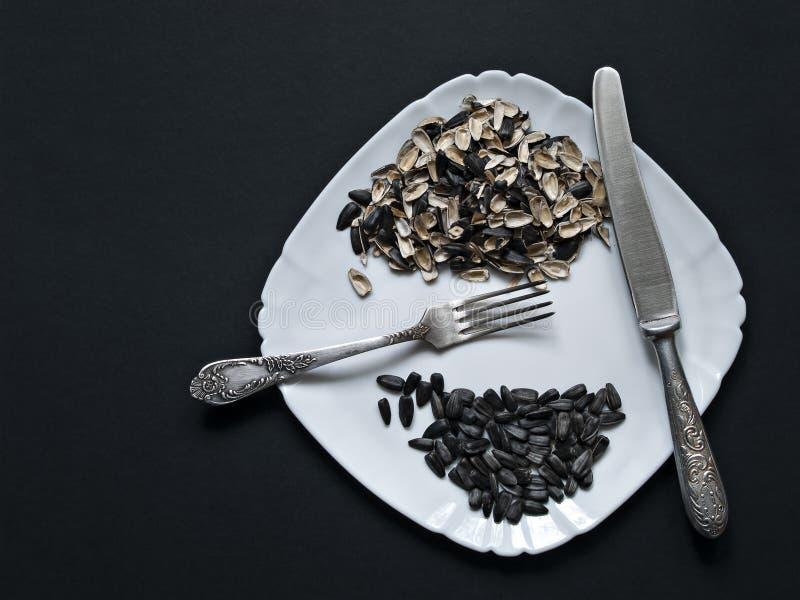 На белой лож плиты семена солнцецвета, шелухи от стоковое фото rf