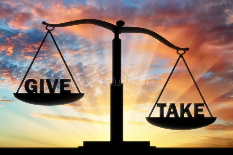 На весах правосудия, 2 слова - компромисс Слово, который нужно принять тяжеле бесплатная иллюстрация