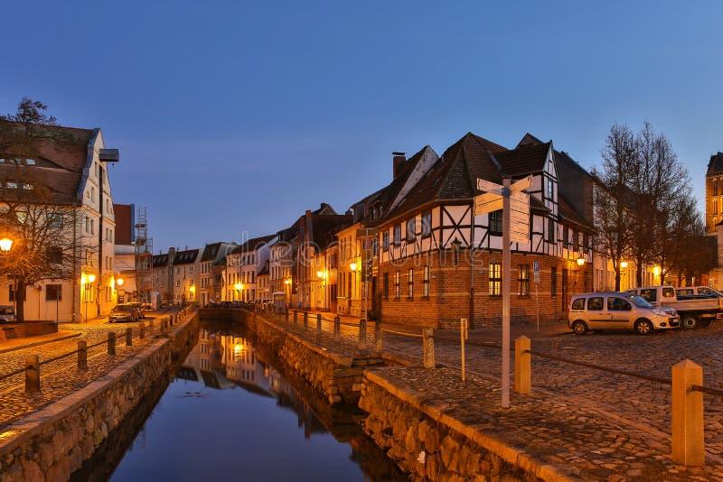 На вечере, Wismar, Германия стоковое изображение