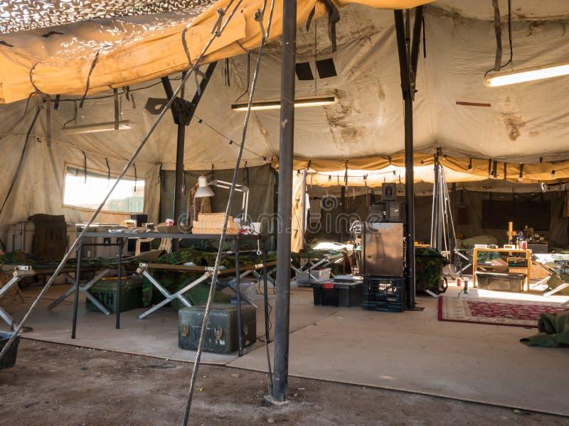На внутренности шатер армии стоковая фотография rf