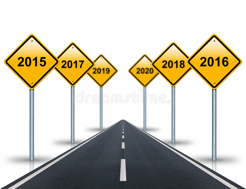 На год вперед дорожных знаков и простираний дороги в расстояние иллюстрация штока