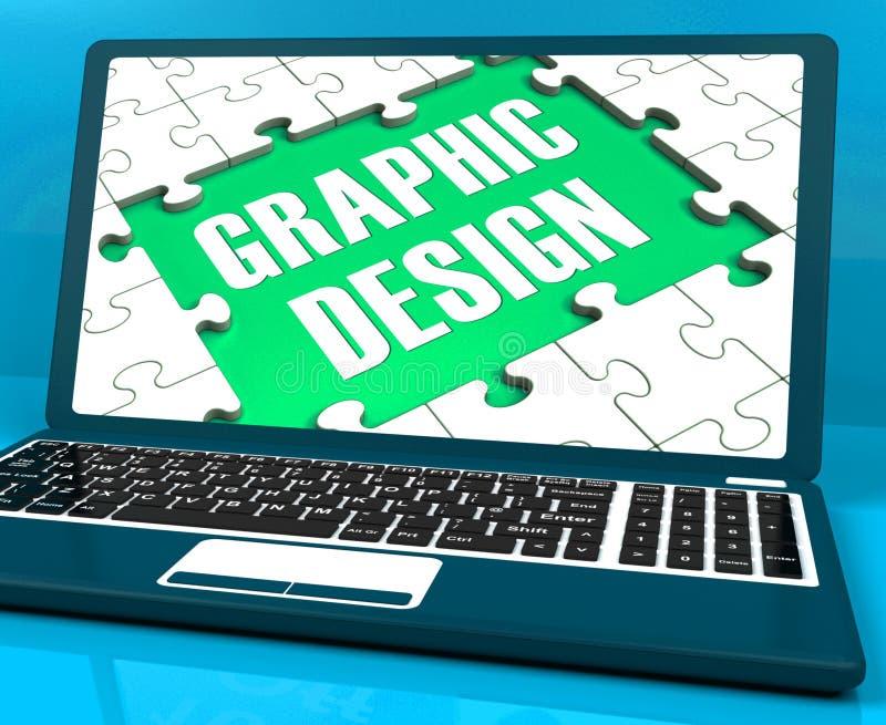 На графический дизайн на компьтер-книжке показано стилизованные творения иллюстрация вектора