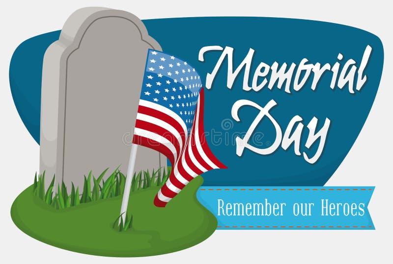 Надгробная плита с u S A Вымпел и знак на День памяти погибших в войнах, иллюстрация вектора бесплатная иллюстрация