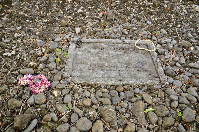 Надгробный камень Чарльза Линдберга, Kipahulu, Мауи стоковые изображения rf
