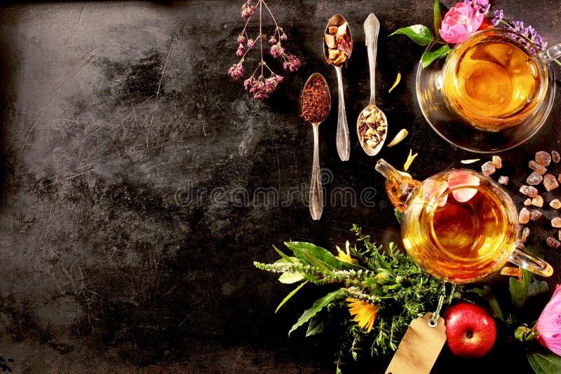 Надземный взгляд различных видов чая стоковое изображение