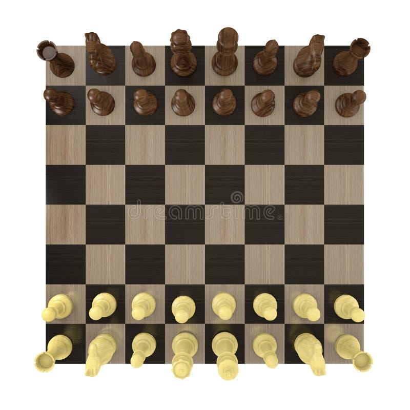 Надземный взгляд шахматной доски настроил для игры бесплатная иллюстрация