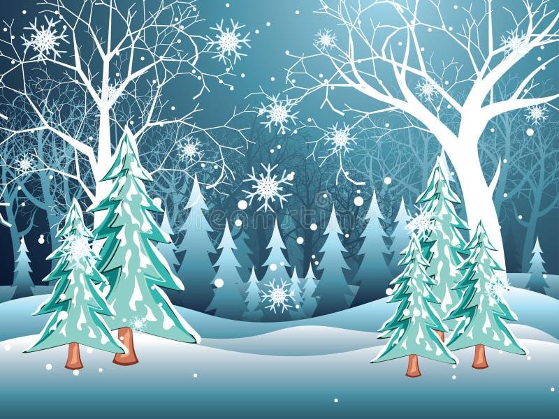 над зимой валов снежка съемки ландшафта пущи иллюстрация штока