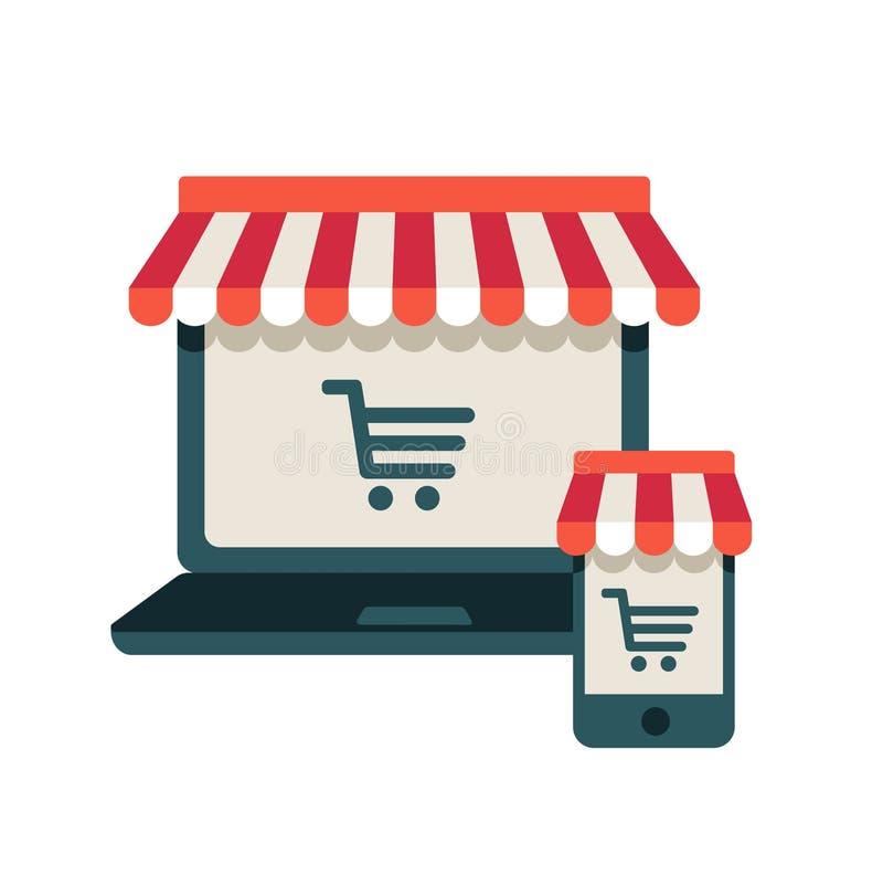 На линии магазине. Компьтер-книжка и умный телефон с тентом иллюстрация штока