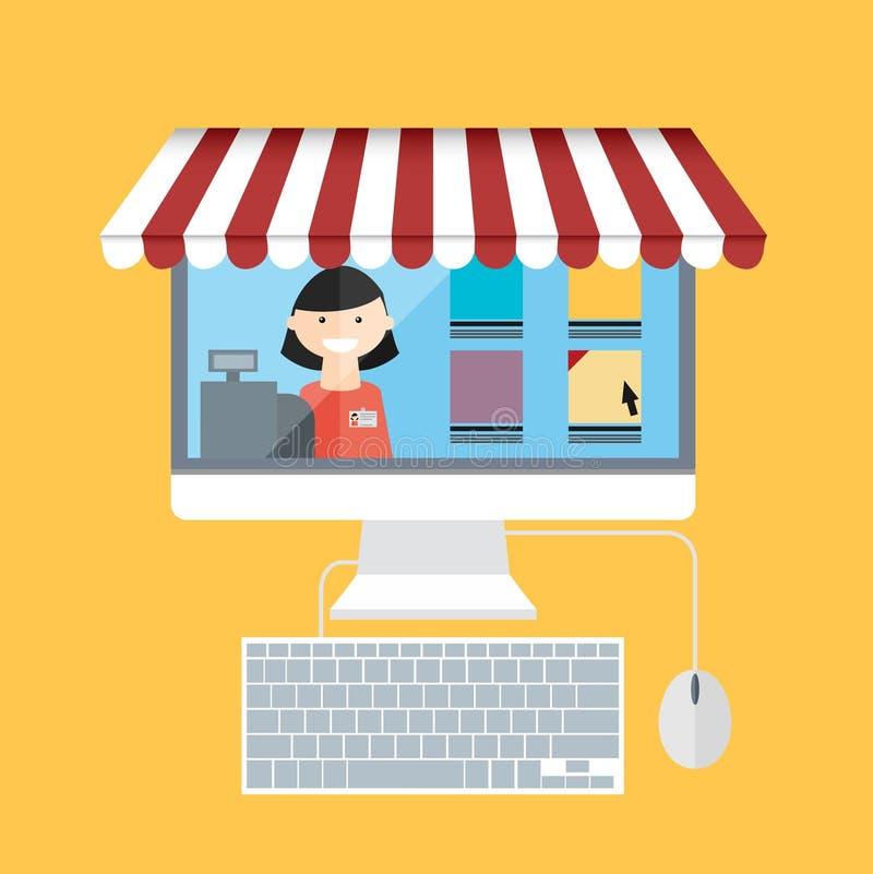 На линии магазине Монитор с продавцем иллюстрация вектора