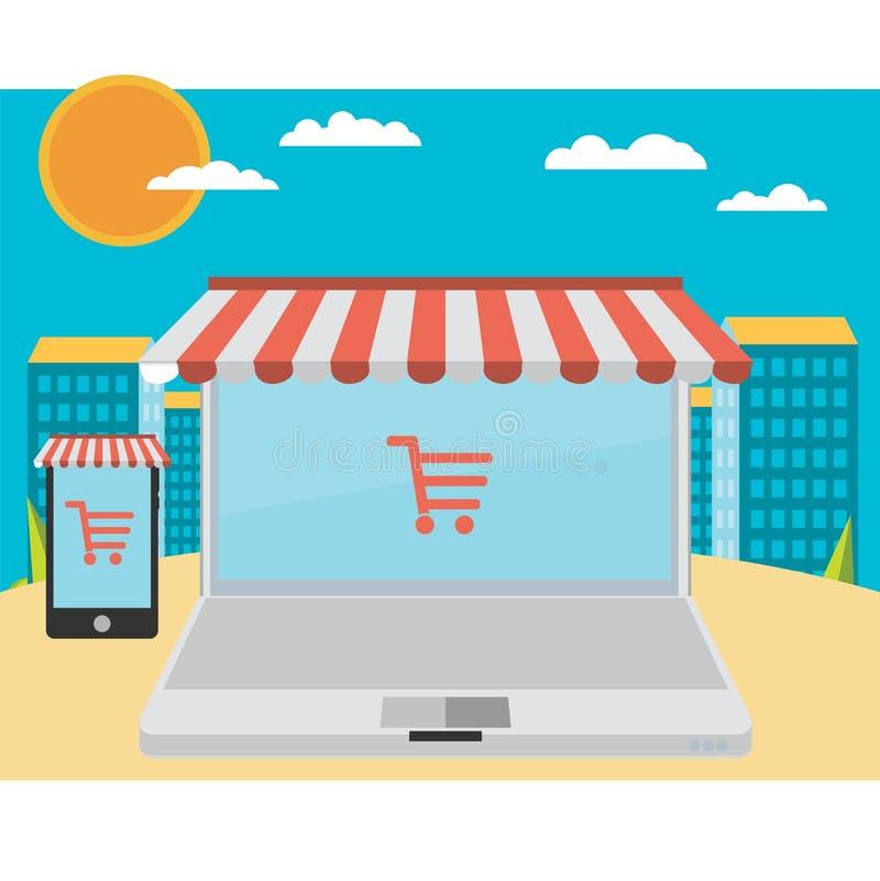 На линии магазине Продажа, компьтер-книжка и умный телефон с тентом иллюстрация вектора