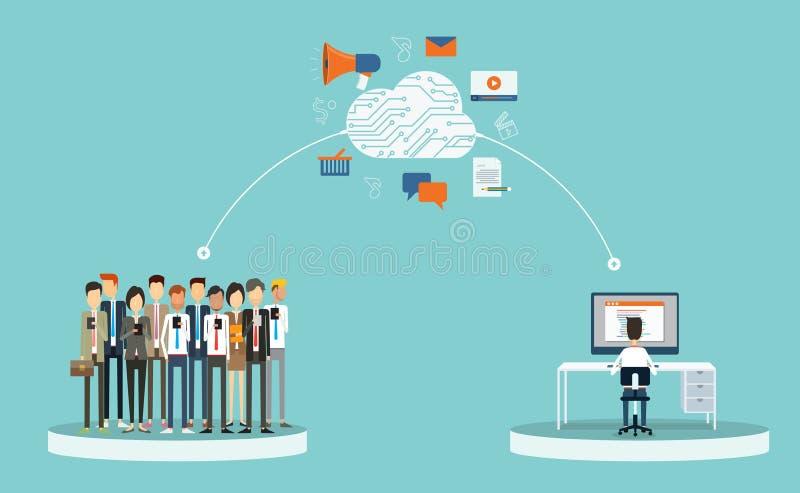 На-линия содержания маркетинга дела и на-линия деловых связей дело на концепции сети облака дело людей группы бесплатная иллюстрация