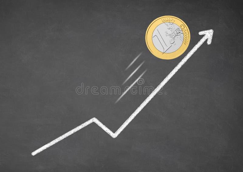 Наличные деньги денег евро роста Рост стрелки вверх стоковые изображения