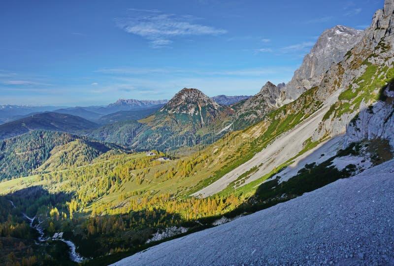 На крутом склоне с видом на скалистые горы и зелёные долины с лугами и деревьями стоковое фото