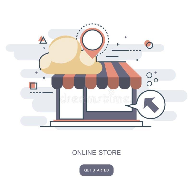 На линии концепции магазина Магазин онлайн, дизайн значка значка дела плоский Значки App, страница сети идей сети, виртуальные по иллюстрация вектора