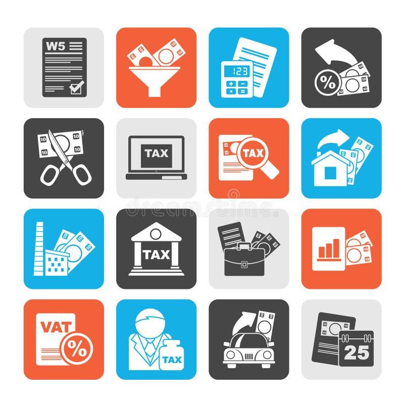 Налоги силуэта, дело и значки финансов бесплатная иллюстрация