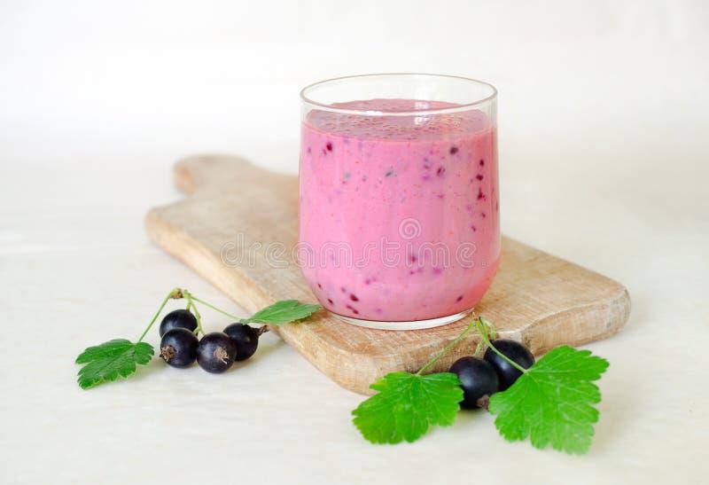 Надоите coctail с ягодами черной смородины в стеклянной чашке на деревянной доске с пуками черной смородины Светлая предпосылка В стоковое изображение