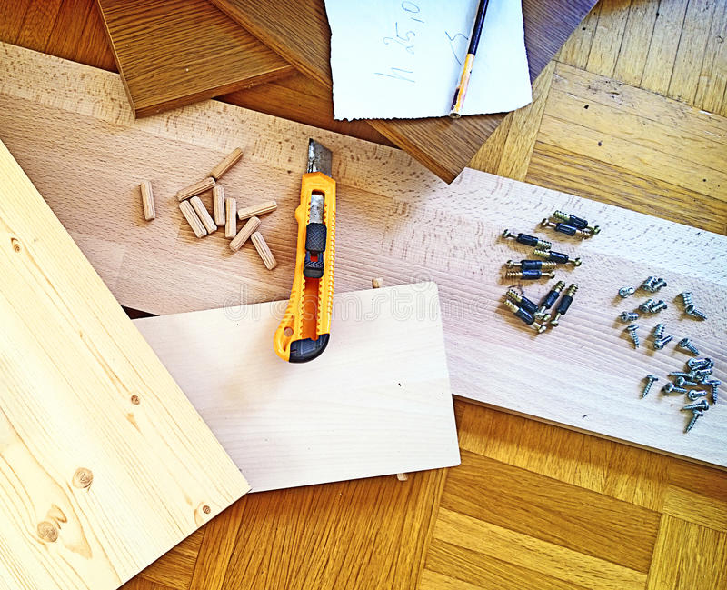 Надомный труд, проект и инструменты ремесленничества стоковые изображения