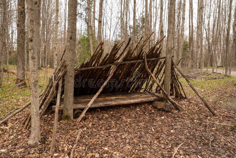 На открытом воздухе рука построила укрытие в древесинах стоковая фотография rf