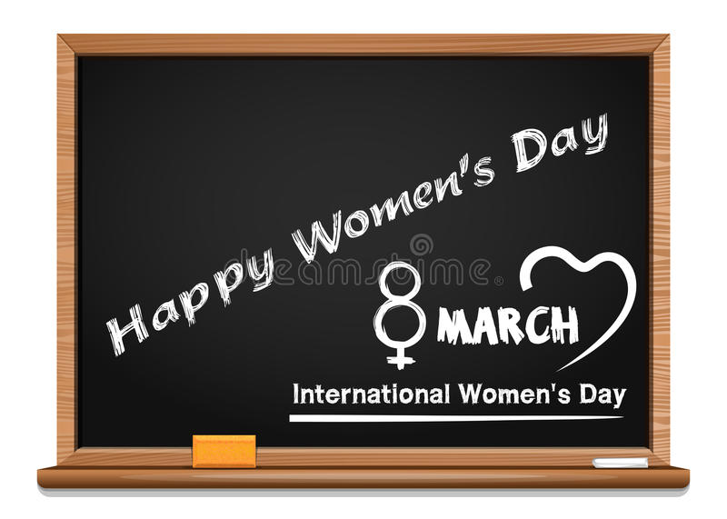 Надпись в меле на классн классном - день приветствию счастливых женщин иллюстрация вектора