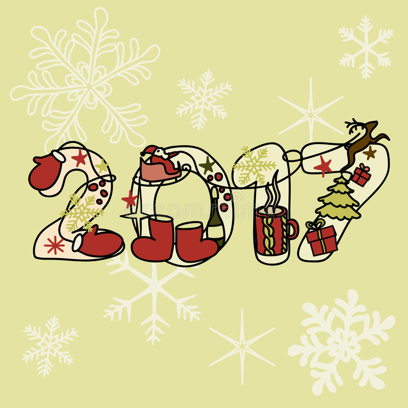 Надпись праздника рождества на красивой яркой предпосылке Новое 2017 стоковые фото