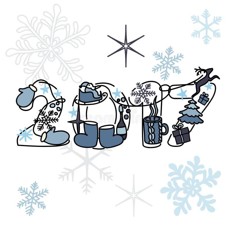 Надпись праздника рождества на красивой яркой предпосылке Новое 2017 стоковое фото