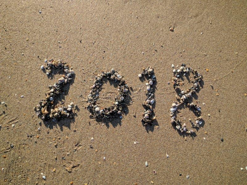 2018 на пляже стоковое фото