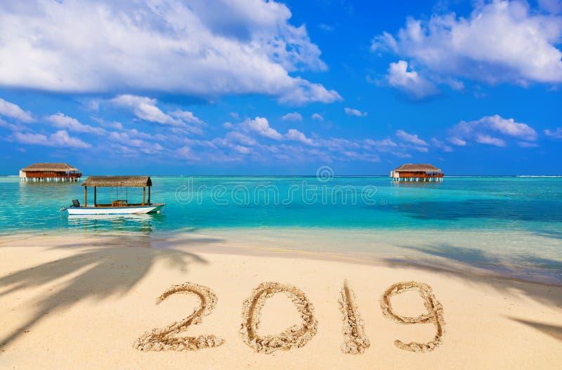 2019 на пляже стоковое изображение