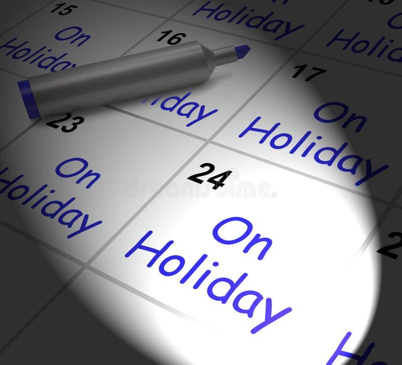 На празднике календарь показывает очередные отпуска или время  иллюстрация штока