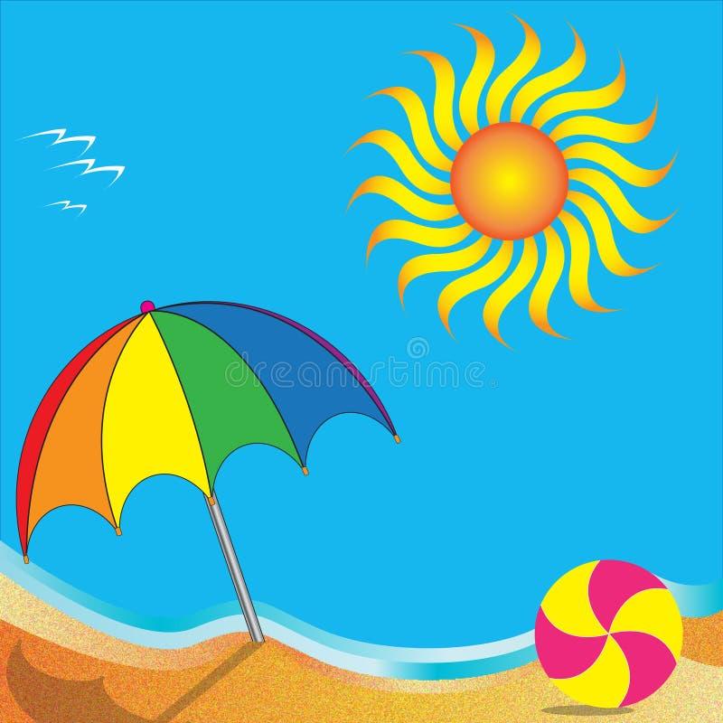 На пляже иллюстрация штока